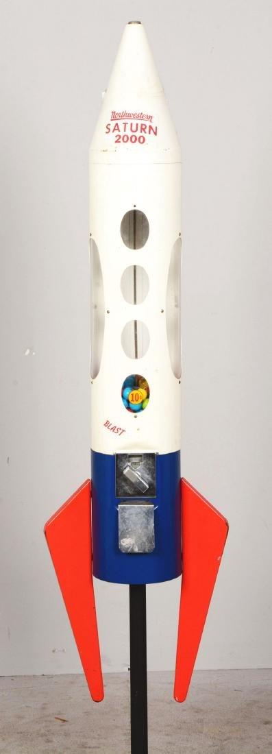 10¢ Northwestern Saturn 2000 Rocket Gum Ball Vending - 4
