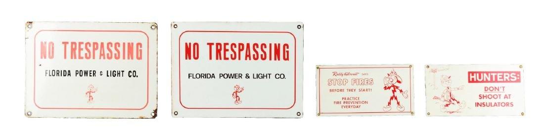 Lot Of 4: Reddy Kilowatt Advertisement Signs.