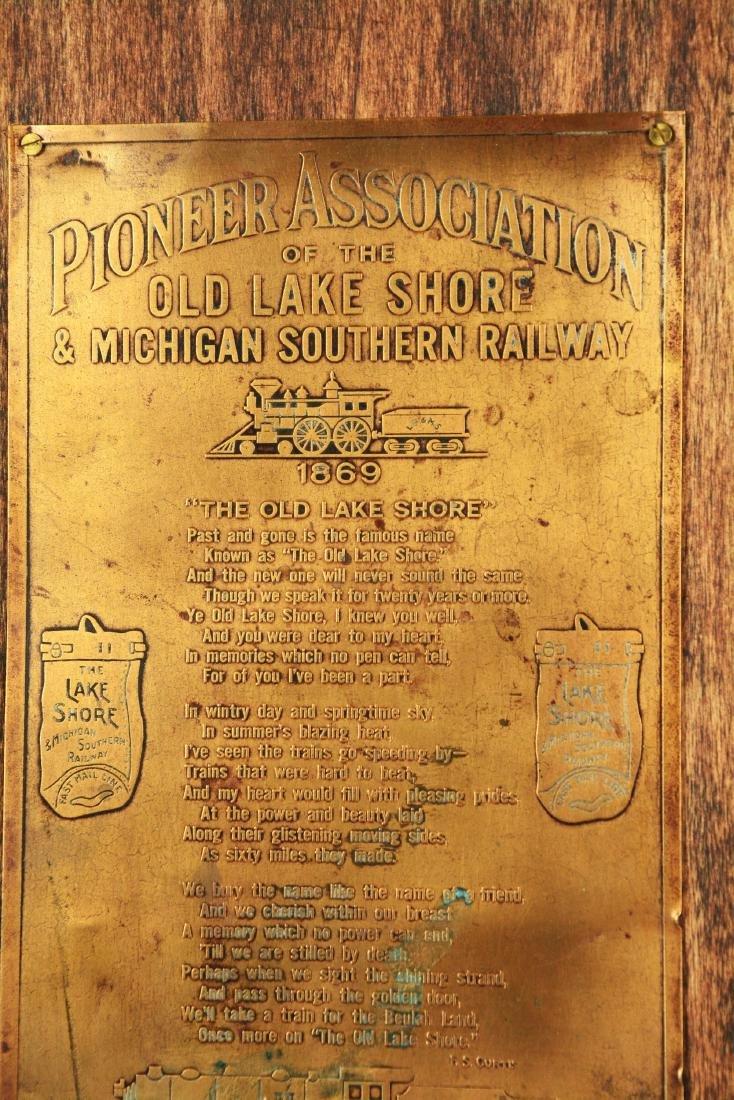 Old Lake Shore Railway Plaque. - 2