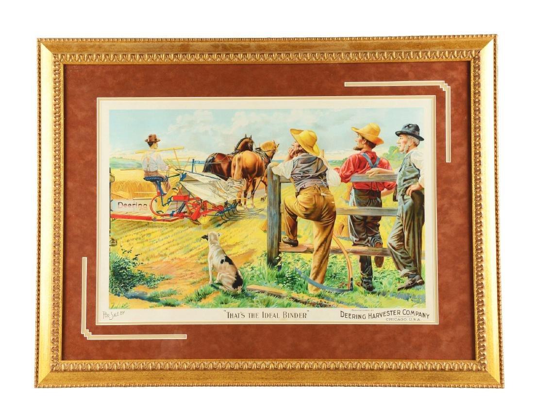 Framed Deering Harvester Company Print.