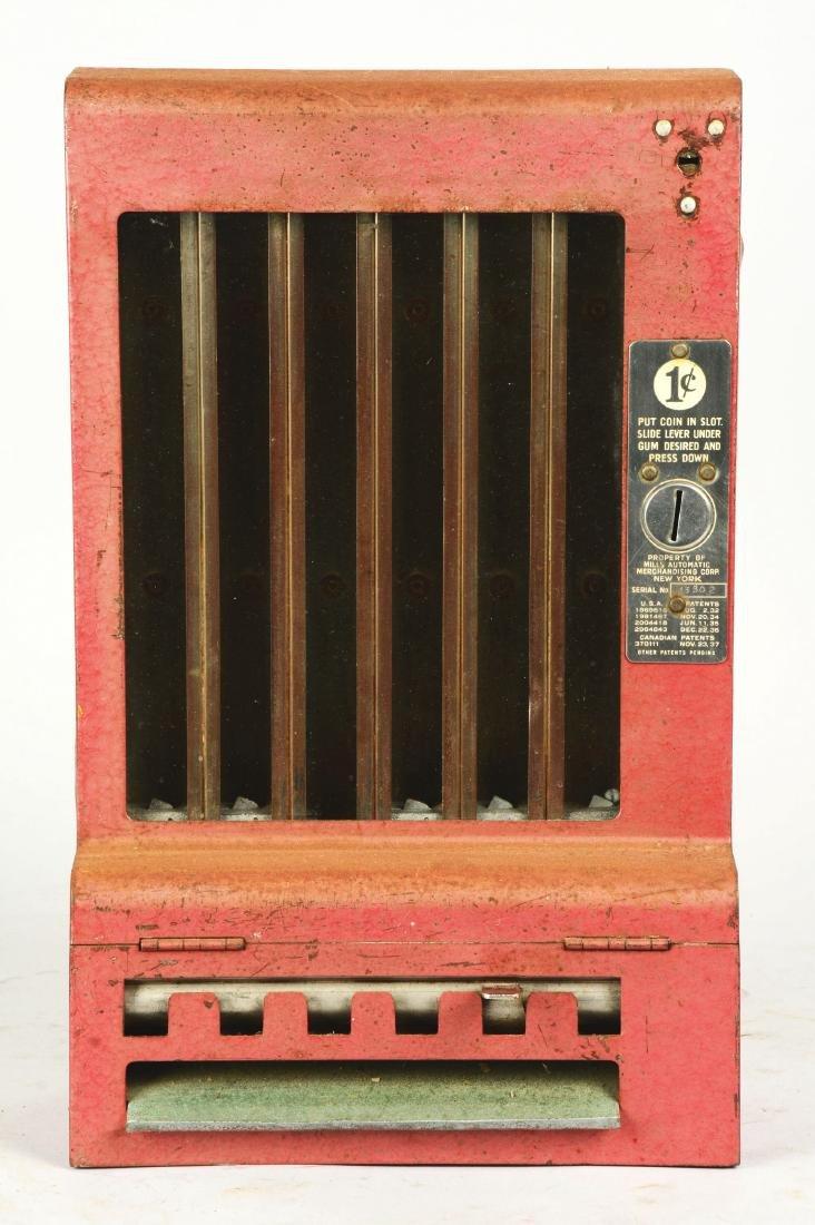 1¢ Mills Automatic Gum Vending Machine. - 2