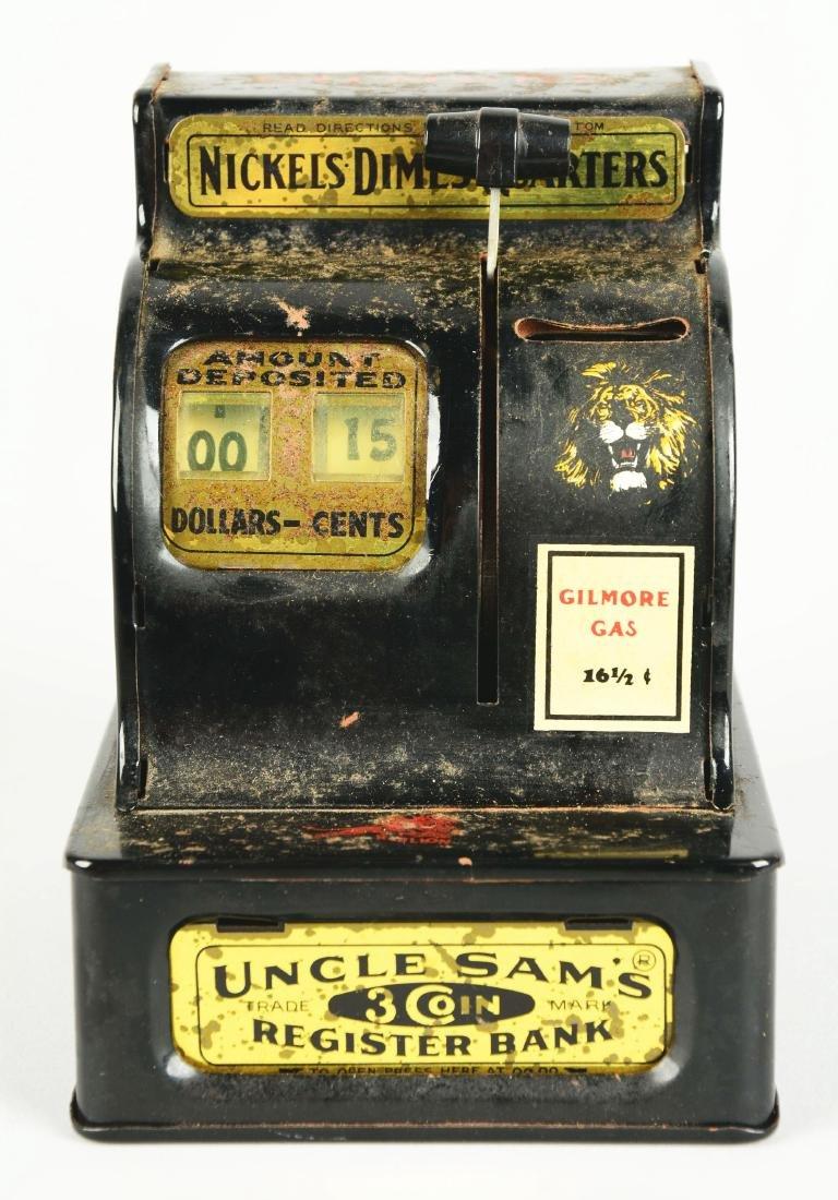 Uncle Sam's 3-Coin Register Bank. - 3