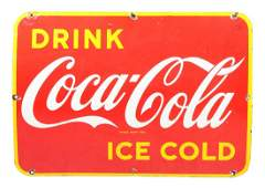 Ice Cold Coca-Cola Porcelain Sign.