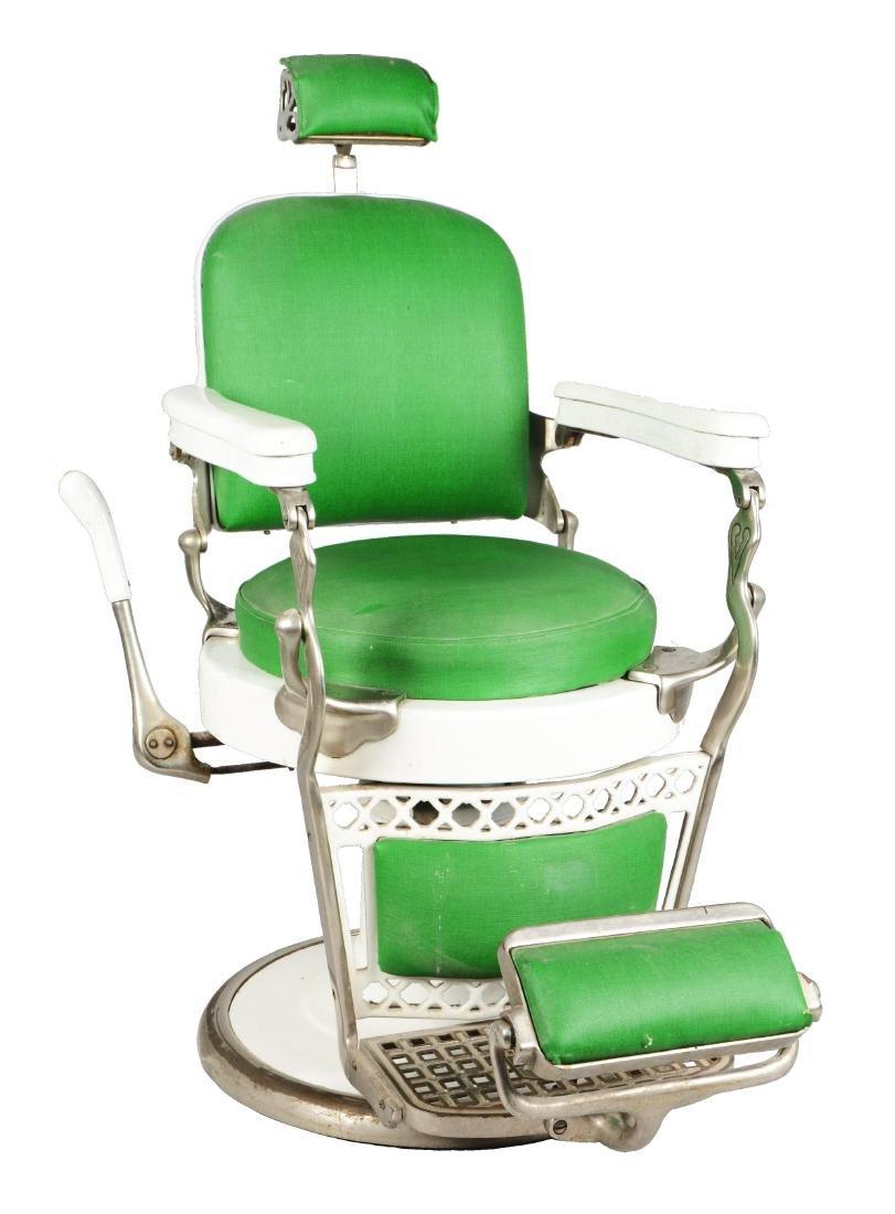 Antique Emil J. Paidar Round Seat Barber Chair.