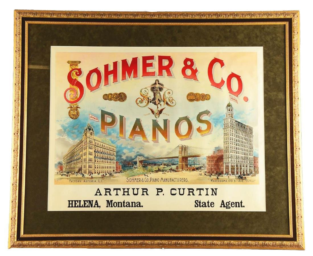Sohmer & Co. Pianos Lithographic Advertisement.