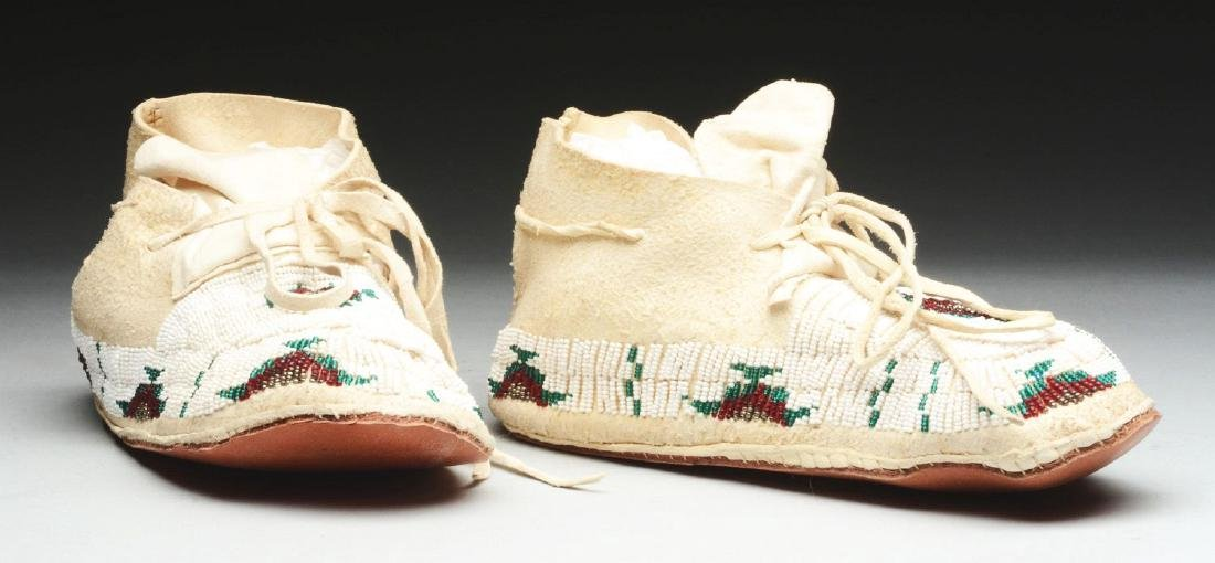 Pair of Beaded Moccasins. - 2