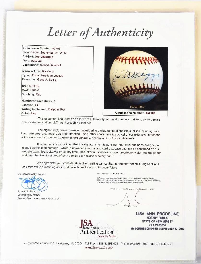 Joe DiMaggio Single Signed Baseball. - 4