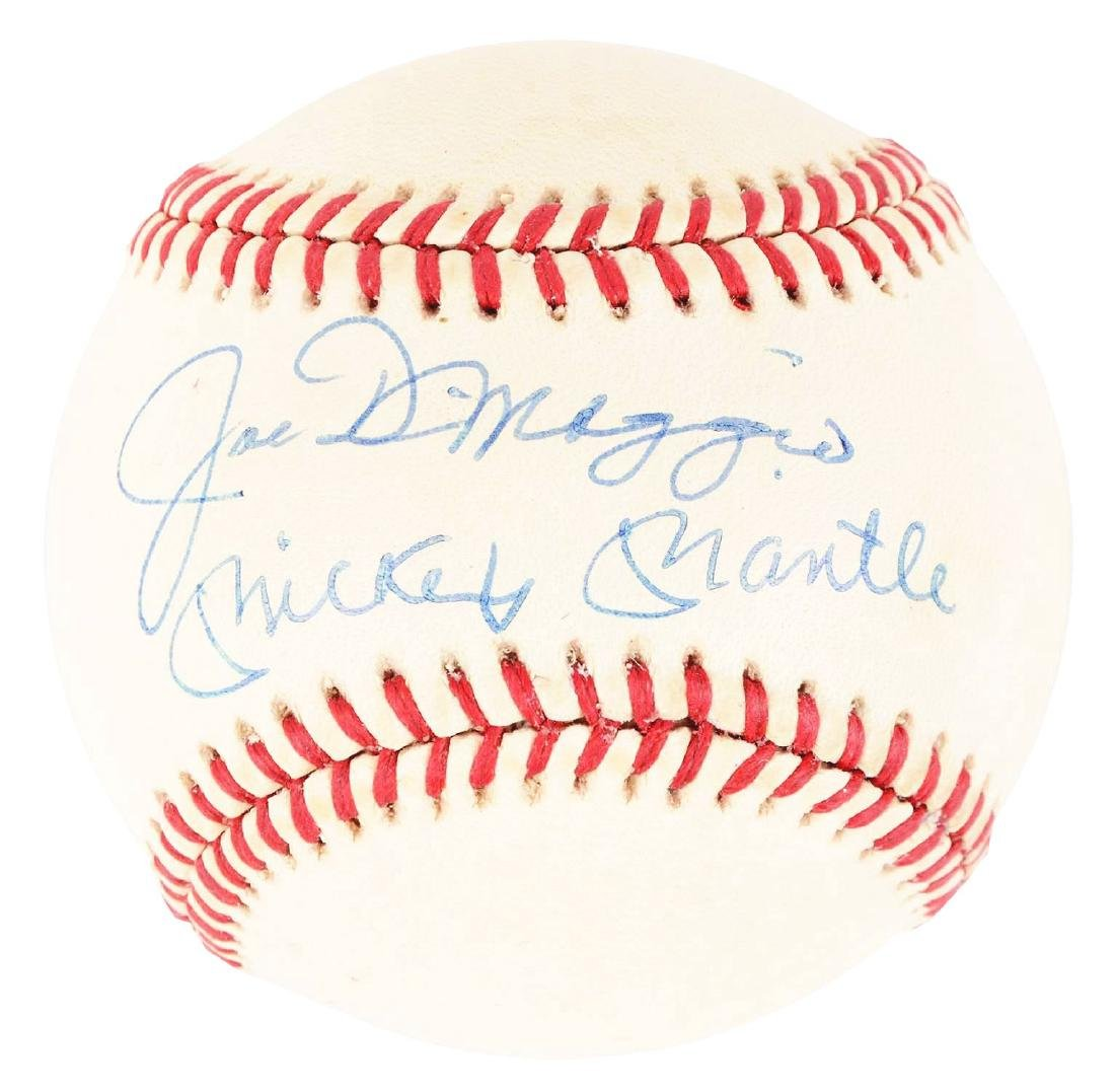 Mickey Mantle and Joe DiMaggio Signed Baseball.