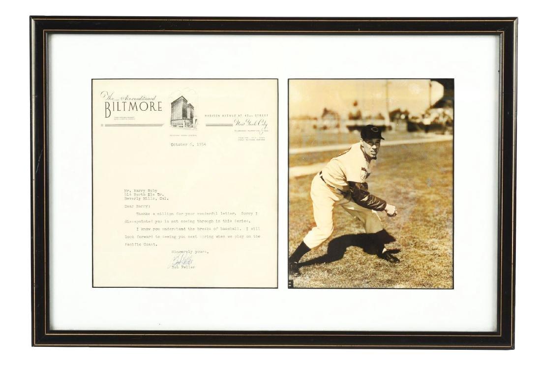 Framed 1954 Bob Feller Letter w/ World Series Content.