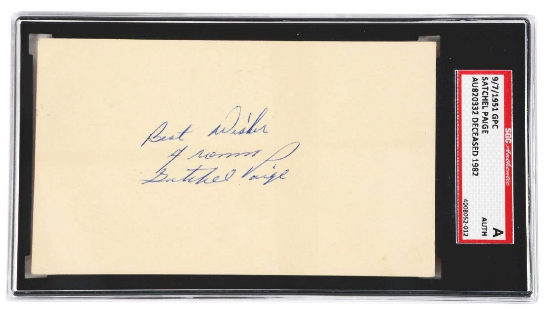 Satchel Paige Signed Government Postcard.