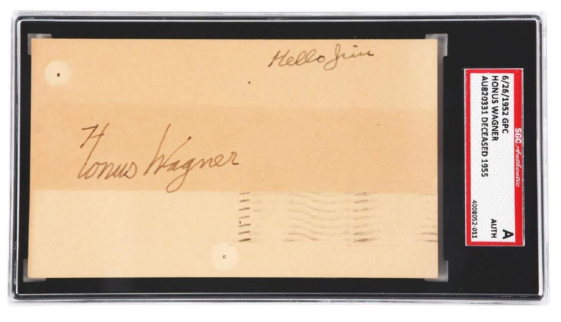 Honus Wagner Signed Government Postcard.