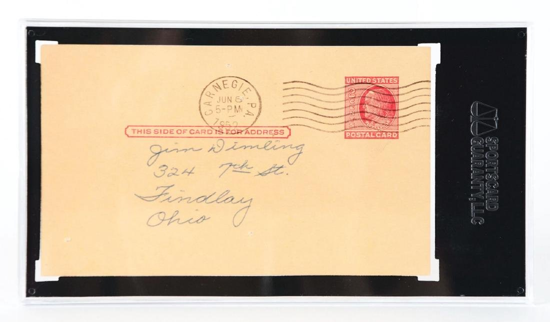 Honus Wagner Signed Government Postcard. - 2