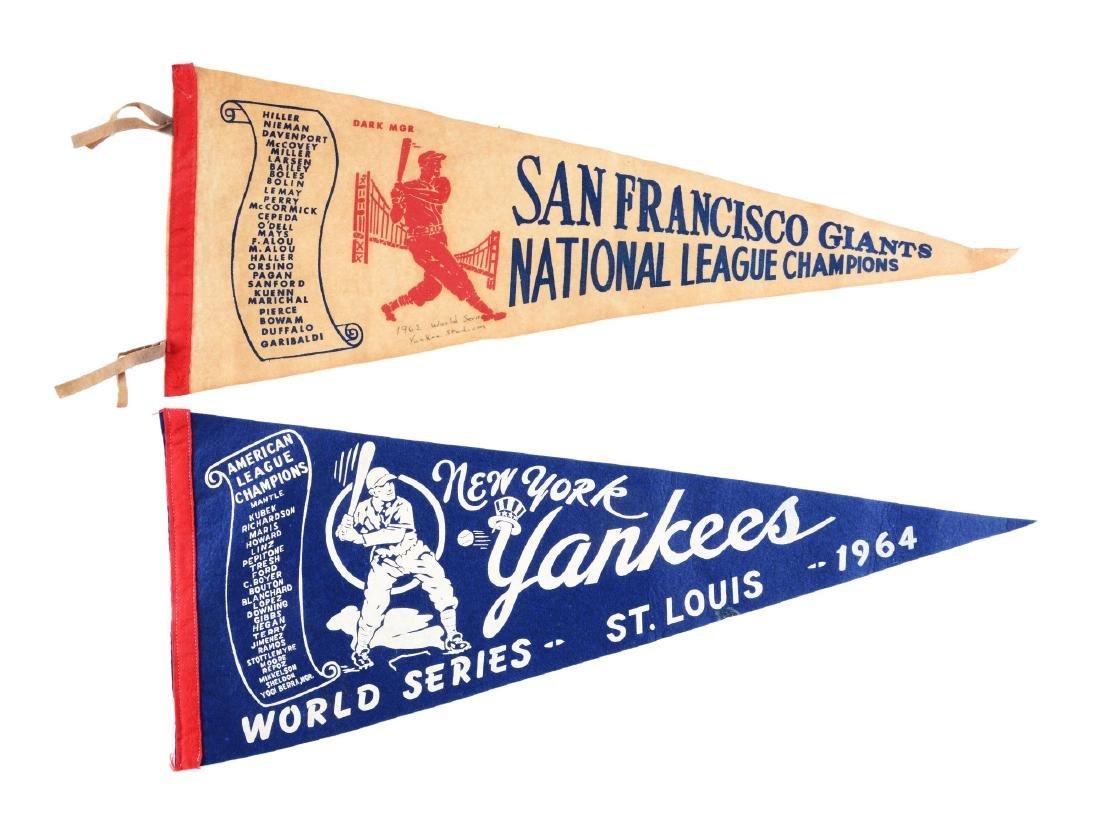 Lot of 2: Vintage Championship Baseball Pennants.