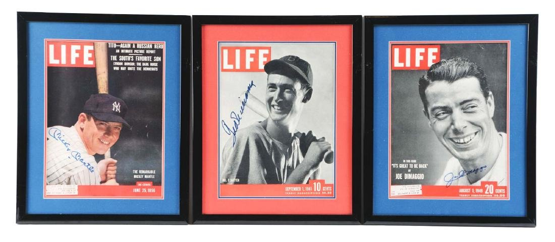 Lot of 3: Mantle, Williams & DiMaggio Signed Life