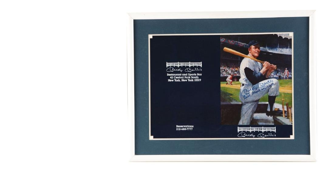 """Lot of 2: The """"Best Meat In NYC"""" Signed Mickey Mantle"""