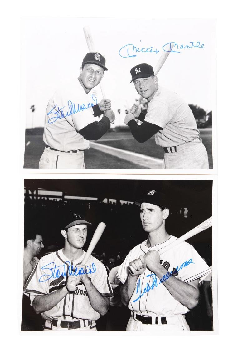 Lot of 2: Williams/Musial and Mantle/Musial Signed