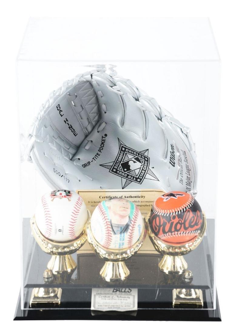 Cal Ripken Autographed Glove & Ball Display.