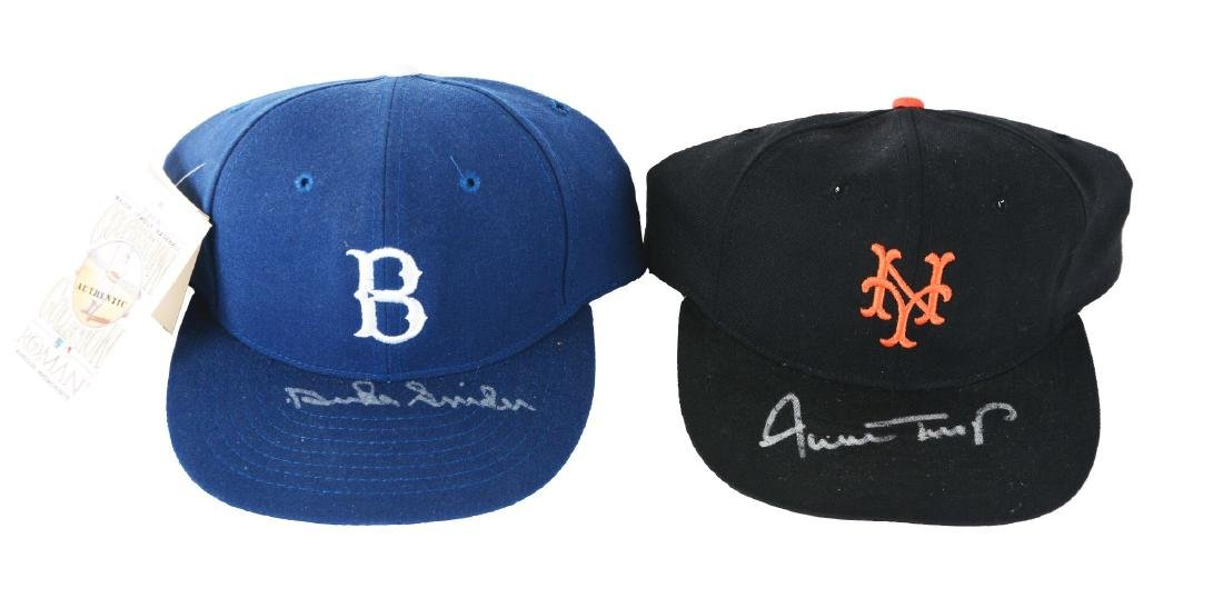 Lot of 2: Willie Mays & Duke Snider Signed Hats.