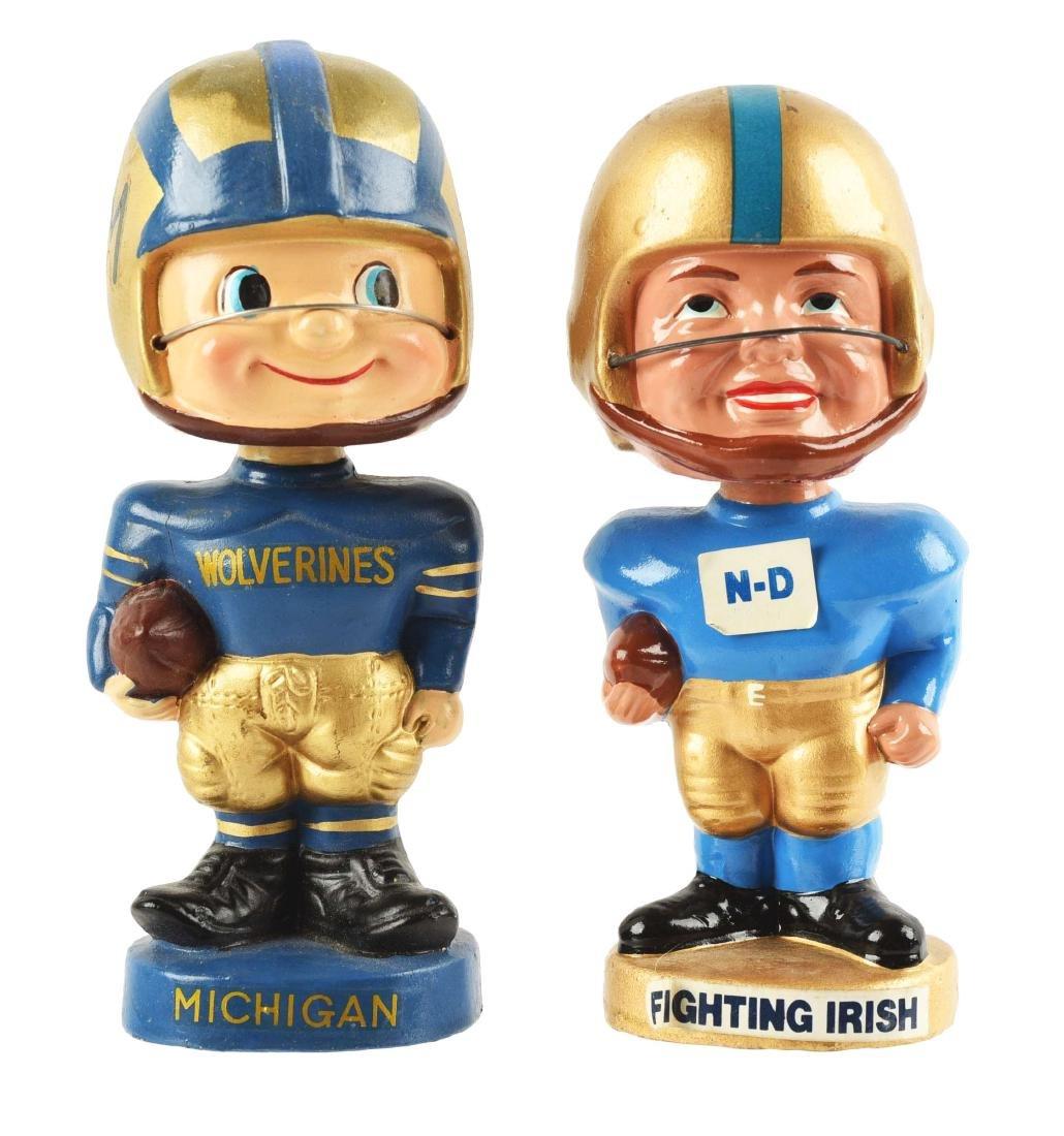 Lot of 2: College Football Bobbin Head Dolls.