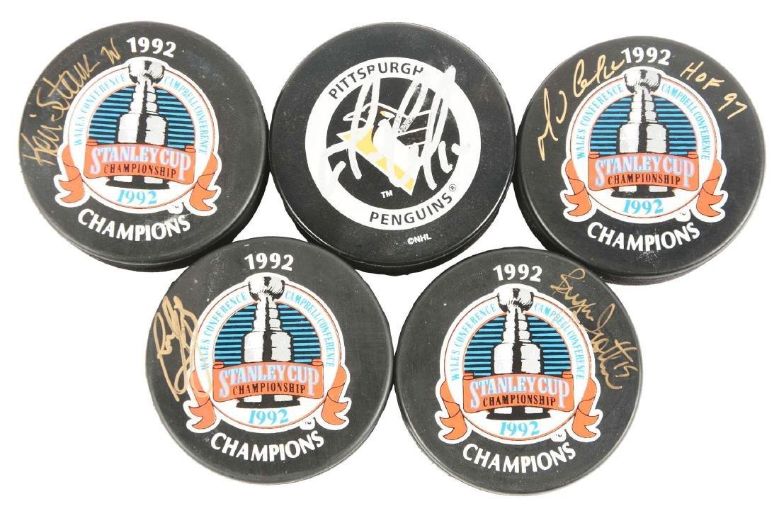 Lot of 5: Pittsburgh Penguins Signed Hockey Pucks