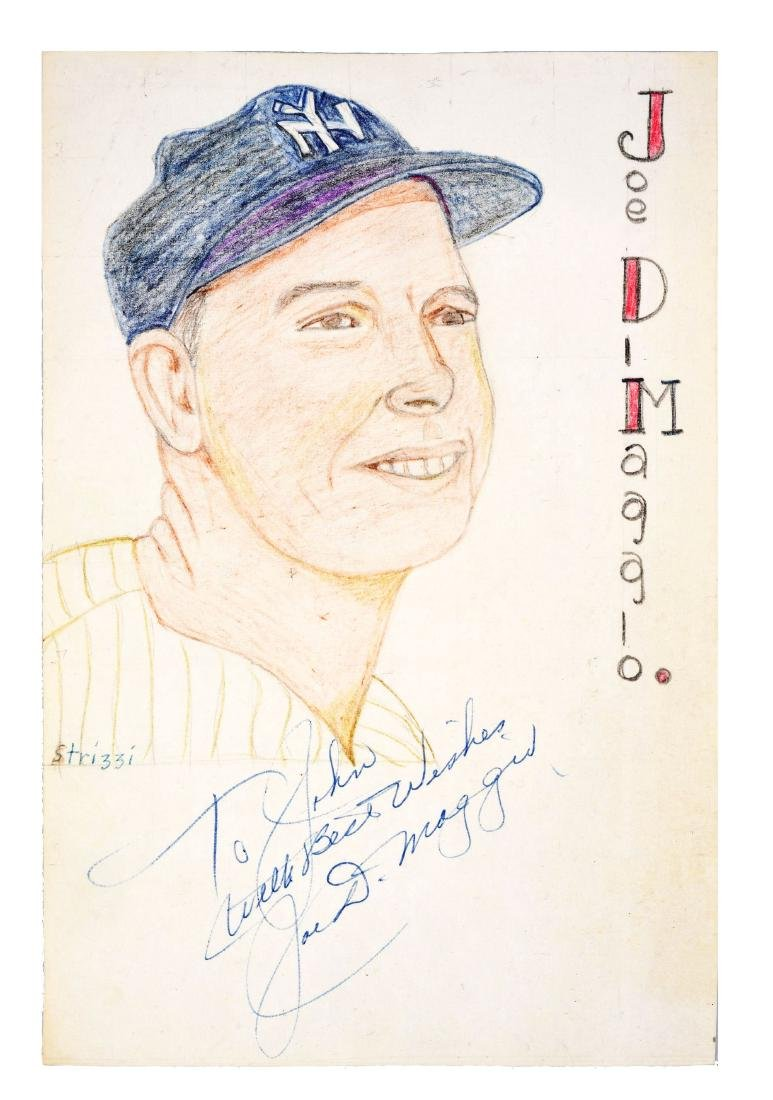 Signed Color Sketch of Joe DIMaggio with LOA.