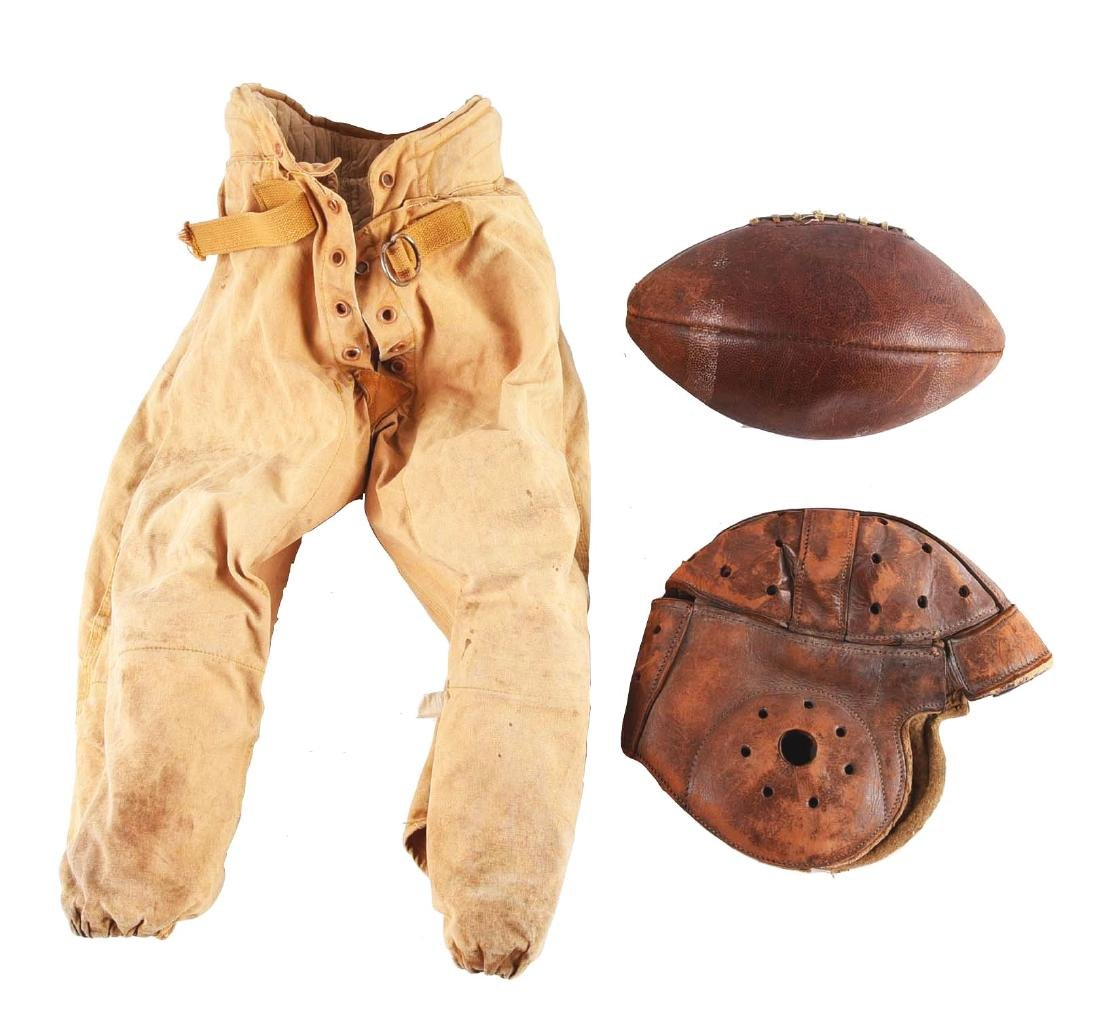 Lot of 3: Early Pre-War Football Uniform and Football