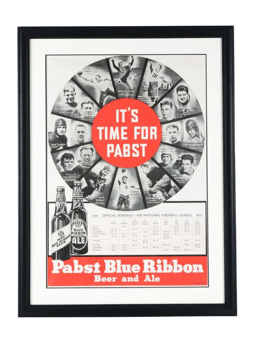 1935 NFL Football Pabst Blue Ribbon Schedule Poster w/