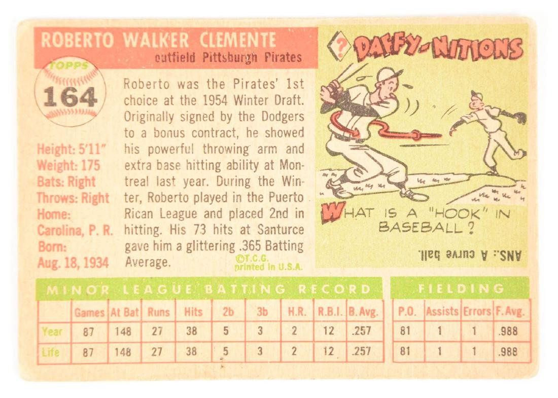 1955 Topps Roberto Clemente Rookie Card. - 2
