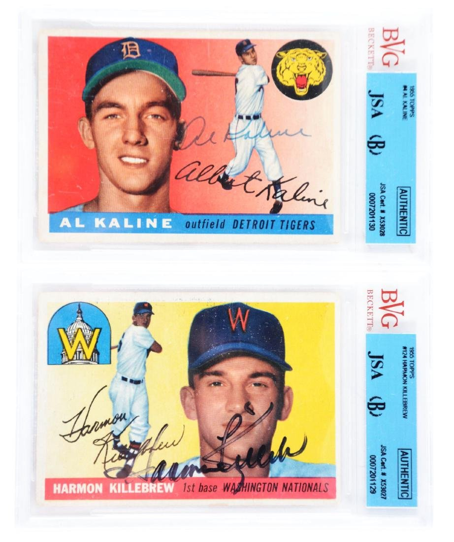 Lot of 2: 1955 Signed Topps Harmon Killebrew Rookie &