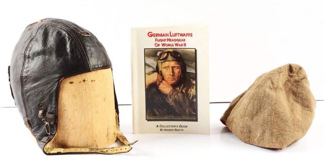 Lot Of 3: Rare WWII German Flight Helmet, Signal Cover
