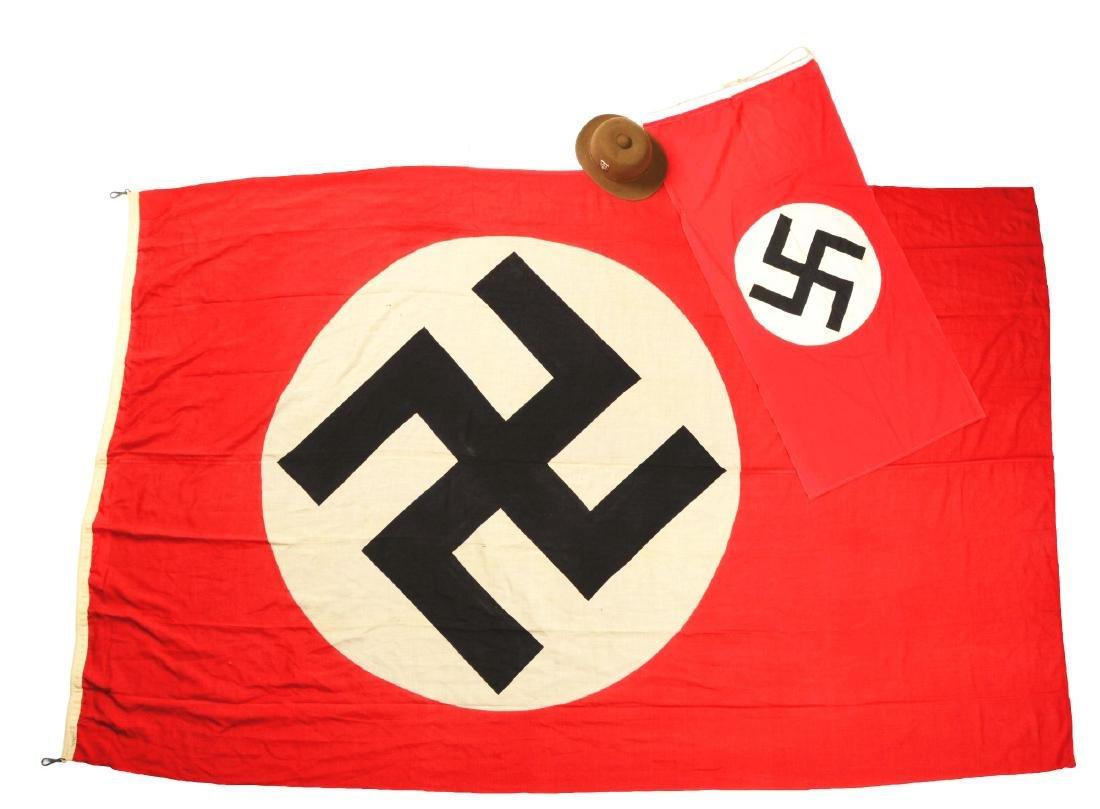 Lot of 2: Nazi Party Flags & DAK Pith Helmet.