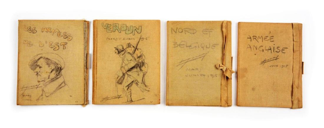 Lot of 4: WWI Battlefield Art or Sketch Books by French
