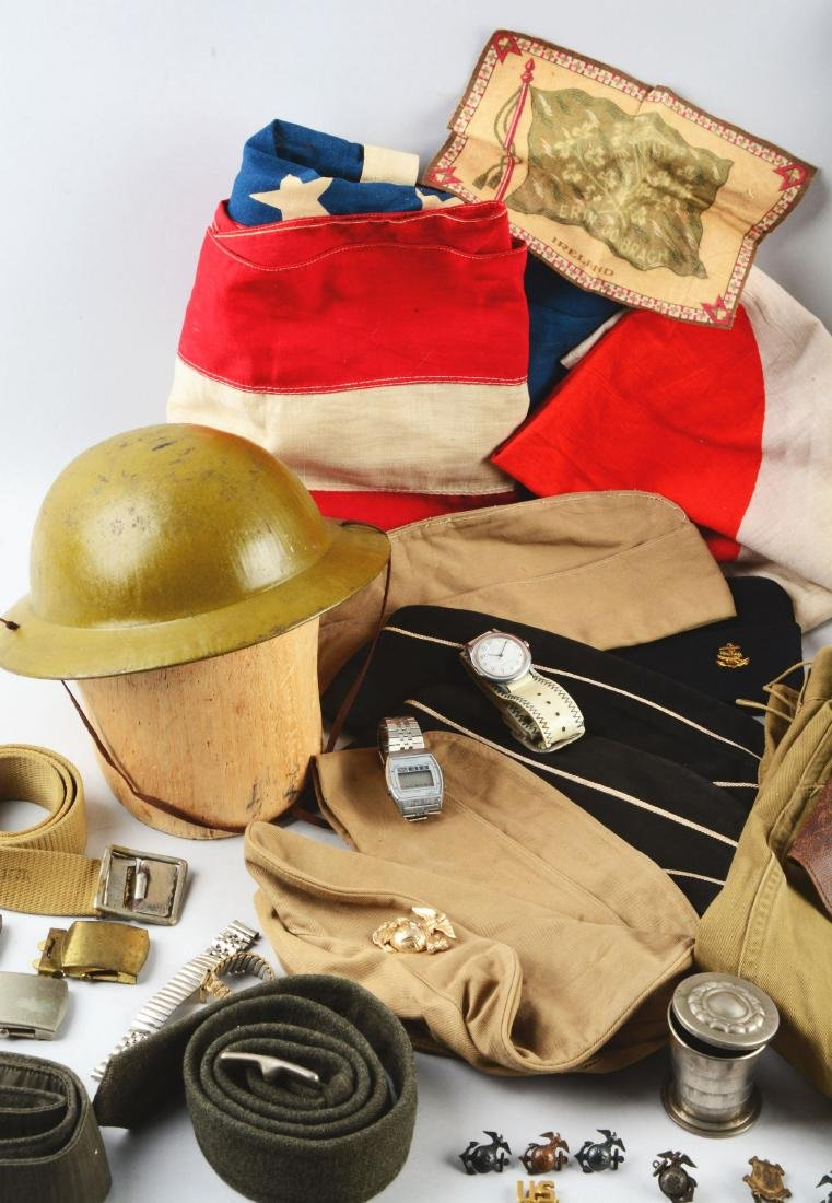 WWII Child's Uniform Grouping with Flags, Helmets & - 4