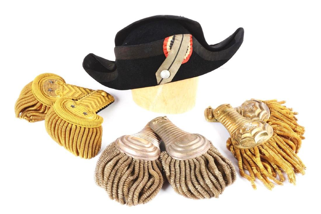Lot of 4: 3 Pairs of Epaulette & Bicorn Hat.