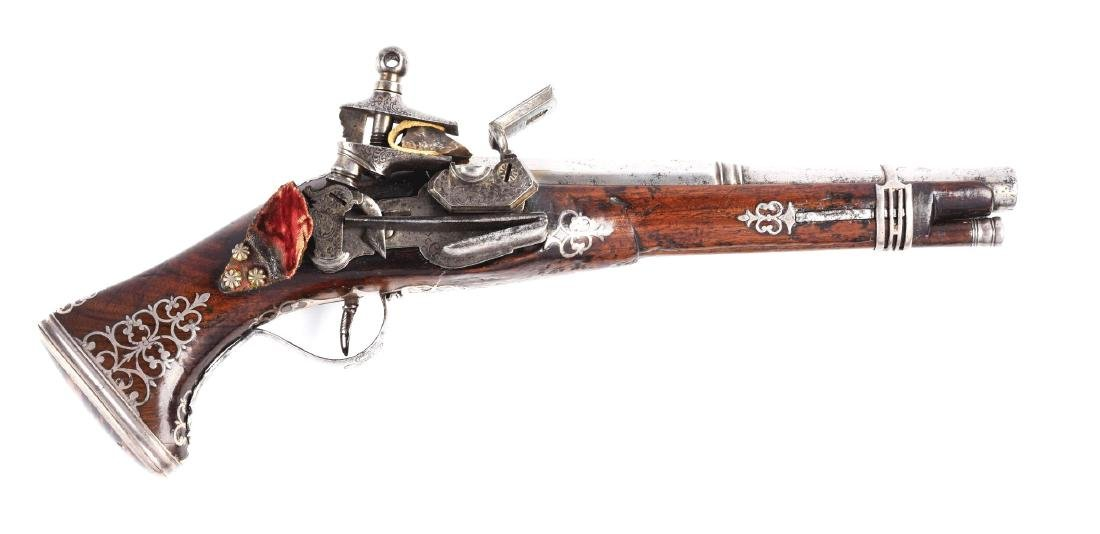(A) Silver Inlaid Spanish Miquelet Pistol.