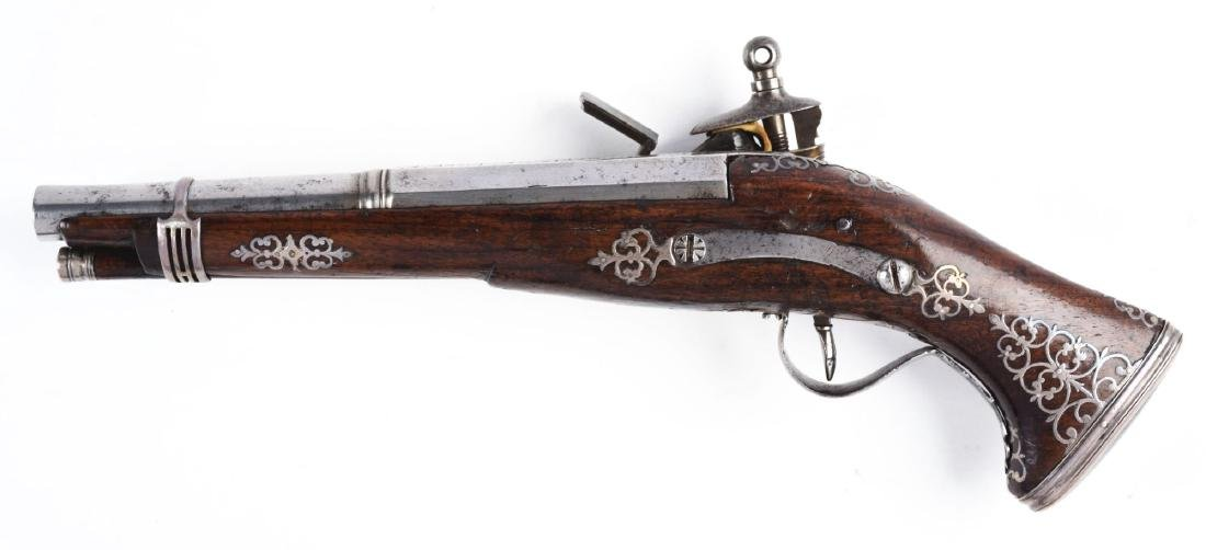 (A) Silver Inlaid Spanish Miquelet Pistol. - 2