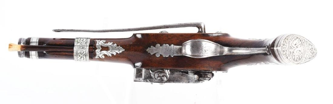 (A) Fine Silver Mounted Spanish Miquelet Pistol. - 4