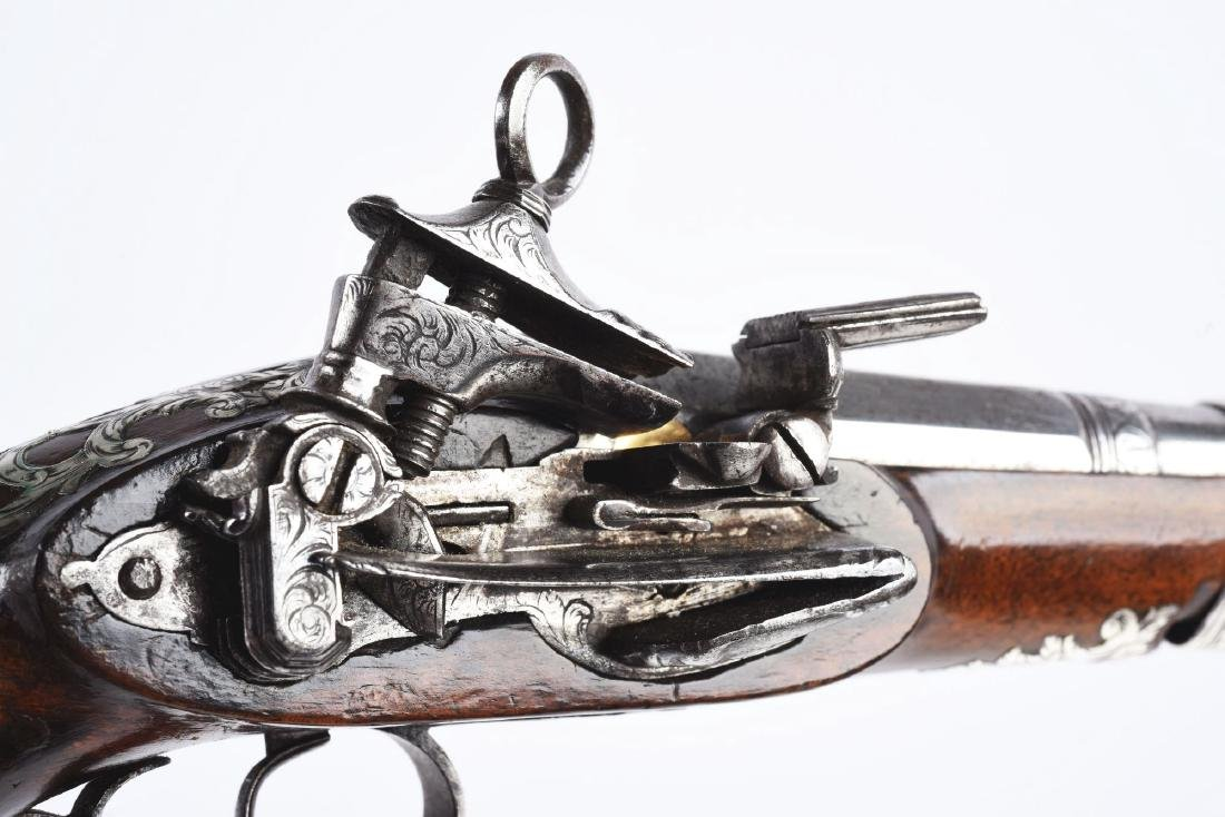 (A) Fine Silver Mounted Spanish Miquelet Pistol. - 7