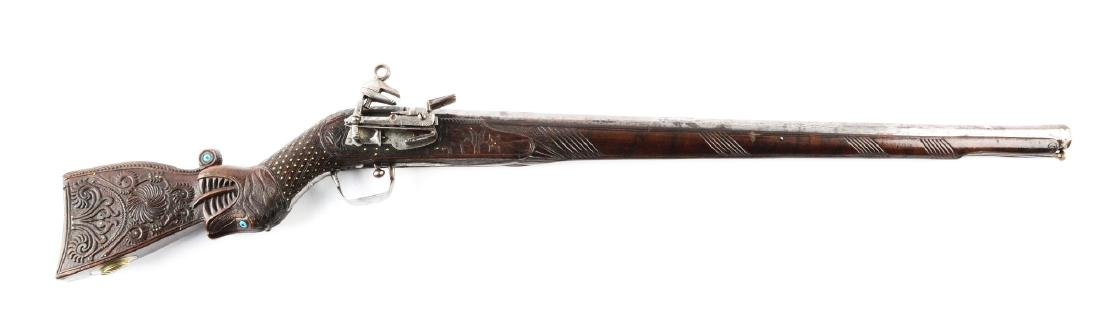 (A) Very Ornate Howdah Miguelet Rifle from India.