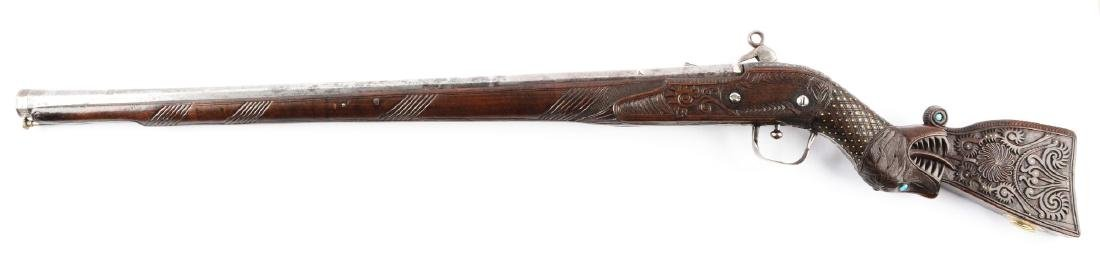 (A) Very Ornate Howdah Miguelet Rifle from India. - 2