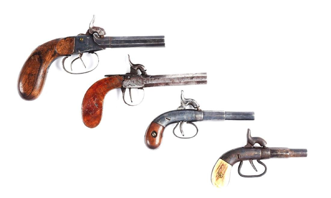 (A) Lot of 4: Antique Percussion Boot Pistols.