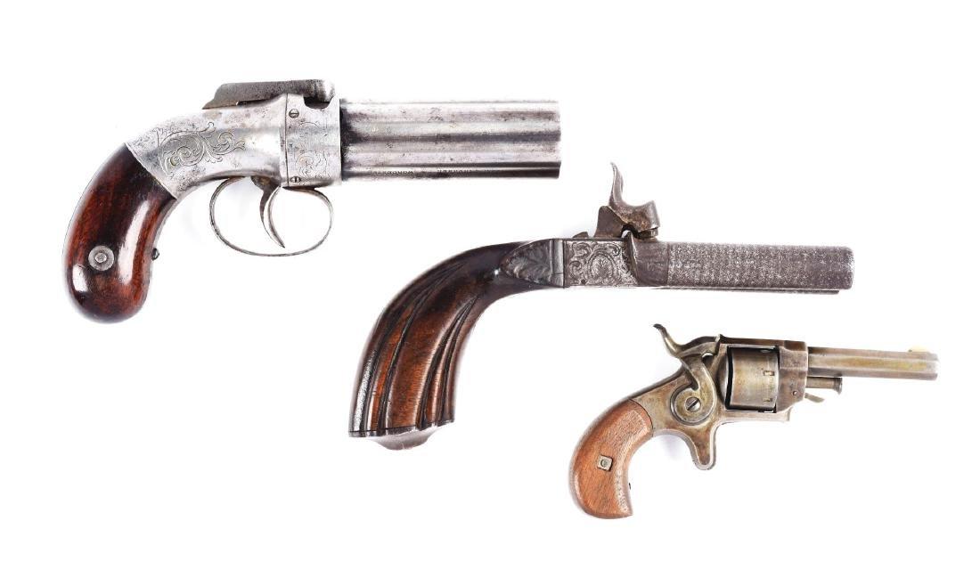 (A) Lot of 3: Antique Handguns.