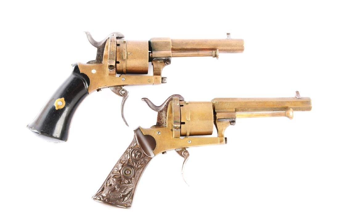 (A) Lot of 2: Rare Brass Systeme Lefaucheaux Pinfire