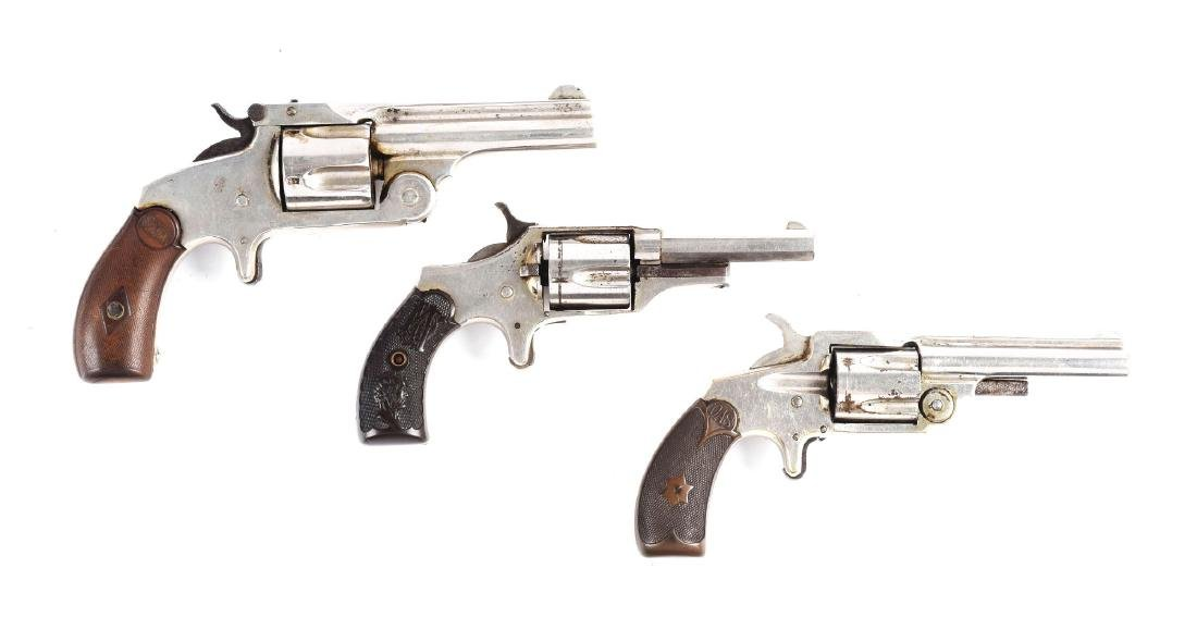(A) Lot of 3: Antique Spur Trigger Revolvers.