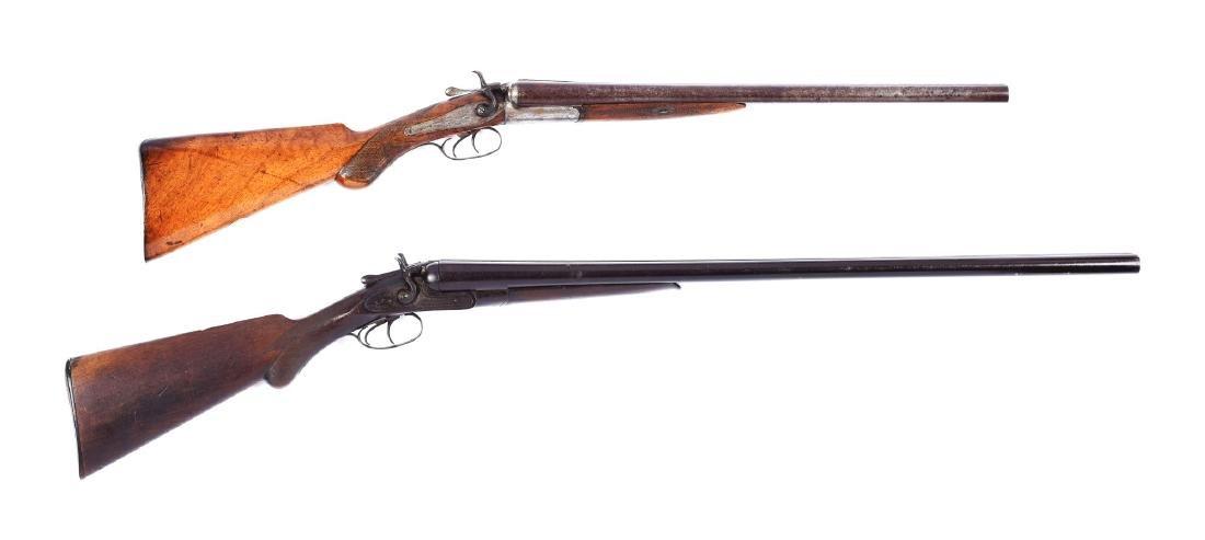 (A) Lot of 2: Antique Double Barrel Hammer Shotguns.