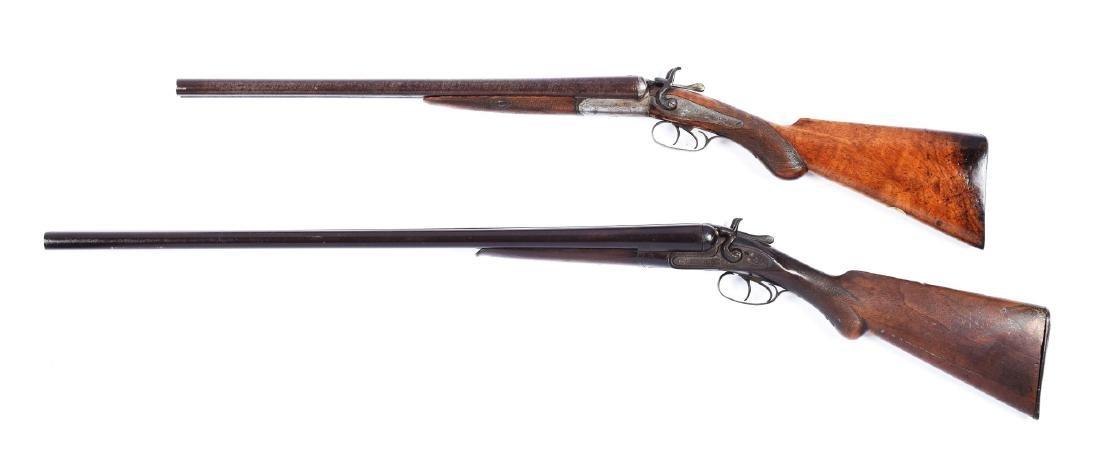 (A) Lot of 2: Antique Double Barrel Hammer Shotguns. - 2