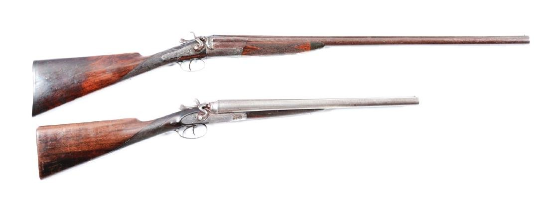 Lot of 2: (A^) Antique English Shotguns with Leather