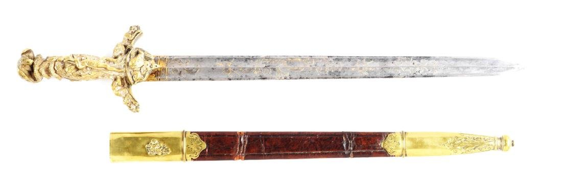 Fine German Presentation Hirschfänger Hunting Sword.