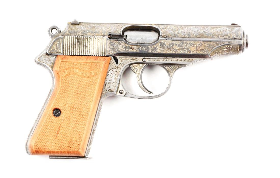 (C) Engraved Walther PP Model Semi-Automatic Pistol.