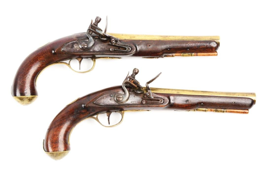 (A) Brace of Brass Barreled Flintlock Pistols by